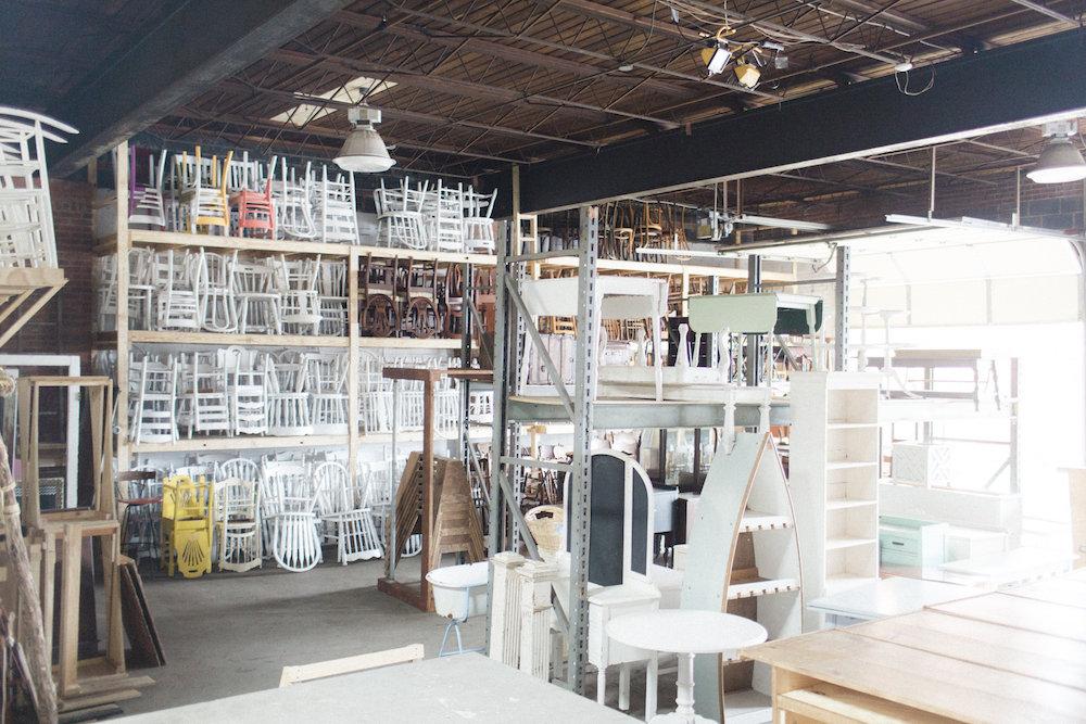 Behind the scenes peek at Paisley & Jade's vintage & specialty rental warehouse.