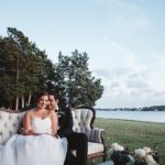Romantic waterside wedding at Norfolk Botanical Gardens with specialty and vintage rentals by Paisley & Jade. Photo by Parker Young