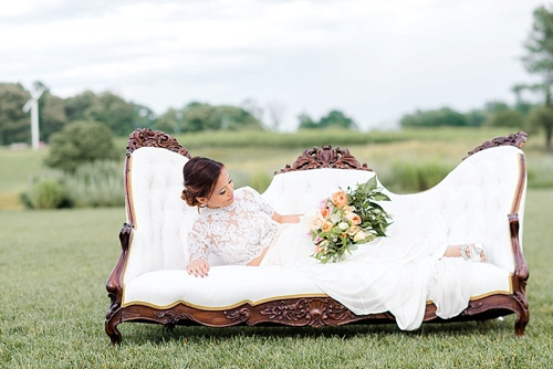 Peach & white wedding inspiration styled shoot at Early Mountain Vineyards with specialty and vintage rentals by Paisley & Jade