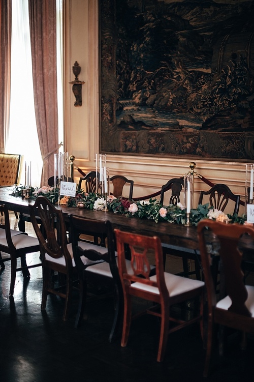 Moody and eclectic wedding at the Meridian House in Washington DC with specialty and vintage rentals by Paisley & Jade