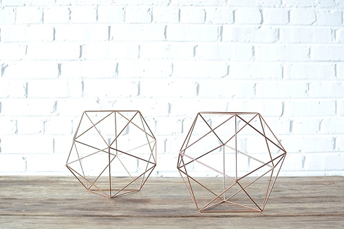 Geometric Copper Shapes available for rent by Paisley & Jade