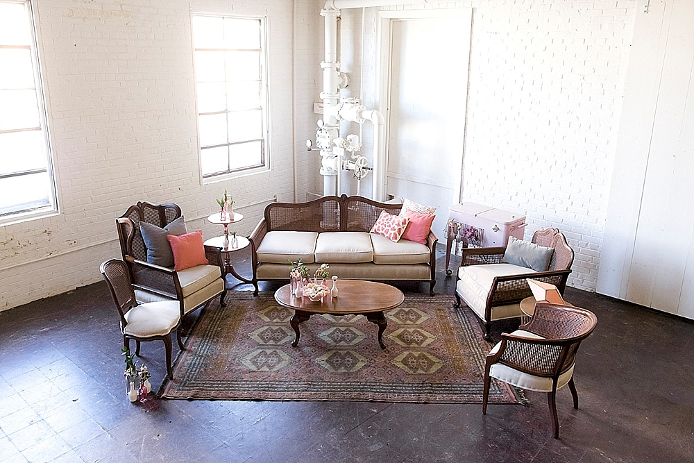 Patterson Collection lounge styled with fun and feminine accents all available for rent by Paisley & Jade