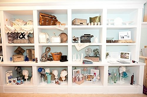 Inside of Blush on Berry, Paisley & Jade decked the shelves of their vintage and specialty rental inventory items for Richmond to see!
