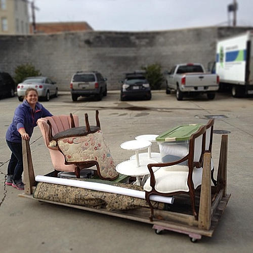 Paisley & Jade Farm Tables double as a cart to deliver the vintage and specialty rentals to clients!