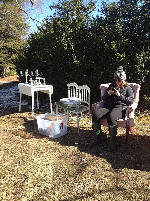 Perkins, co-captain of Paisley & Jade, working hard (or hardly working?) on site at a styled shoot in Richmond, VA!