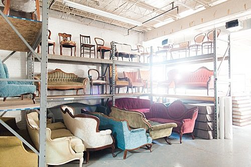 Paisley & Jade has a huge inventory of beautiful upholstered furniture and other vintage and specialty rental items!