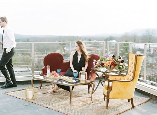 Stylish and Modern Wedding Inspiration Photo Shoot on a Charlottesville Rooftop with Vintage and Eclectic rentals by Paisley & Jade