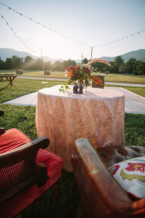 Beautiful boho-chic outdoor wedding at Blue Toad Cidery in Nelson County, Virginia with specialty rentals by Paisley & Jade